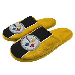 NFL Pittsburgh Steelers Big Logo Stripe Slippers Size L by Forever Collectibles