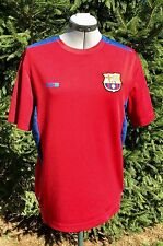 FCB FC Barcelona Dark Red Embroidered Patch Soccer Shirt Polyester Mens Small