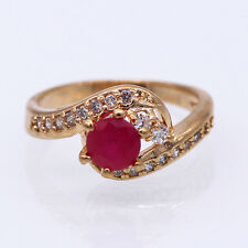 Unique Wedding Jewelry Ruby Crystal CZ 18k Yellow Gold Plated Charm Ring Size 7