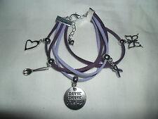 Fibromyalgia Fibro awareness bracelet with charms