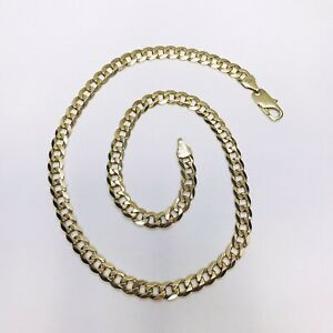 9ct Gold Heavy Curb Chain - 21.5 Inches - Fully Hallmarked - REF401