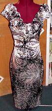 Maggy London Black & Beige Floral Formal Dress Size 4