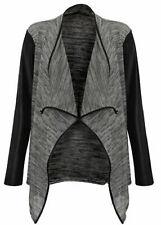 Womens Wetlook PU PVC Arms Waterfall Cardigan -  Ladies Blazer Jacket