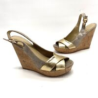 Coach Wedge Sandals Cork Open Toe Slingback Womens Shoes Size 7
