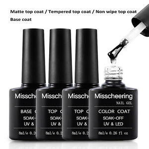 Nail Gel Polish Soak Off UV LED Base Coat Matte/Tempered/Non Wipe Top Coat 8 ML