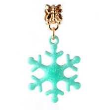 18K gilded Christmas Snow fit European Charm Bracelet pendant Chain DIY #A116