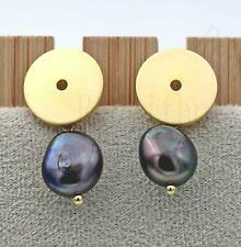 """18K Gold Plated 1"""" Earring Round Disk Linking Black Pearl 925 Silver Pins DS"""