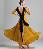 Ballroom Dance Dress Modern Waltz Tango Dress Back Falbala Competition Backless