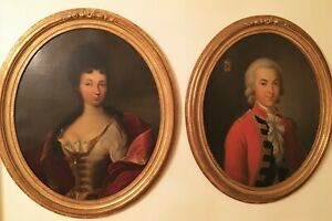 Pair of Antique French Oil on Canvas Portraits..Louis Hersent