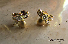 18K Yellow Gold Bow Earrings with Round, Marquis and Baguette Diamonds .77 cts