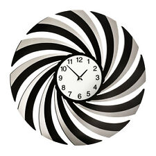 Black Mirrored Swirl Wall Clock Robust Materials MDF, Acrylic & Glass New