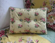 NEW Custom Ralph Lauren Sophie Stripe Accent Pillow 2 Button w/ Gingham Piping