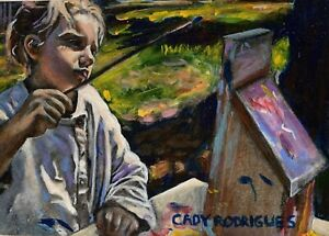 Original Oil Painting Of Child Artist