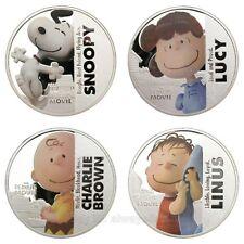 A Set of 4pcs Snoopy Peanuts Comics Cartoon Silver Plated Coins Souvenir Token