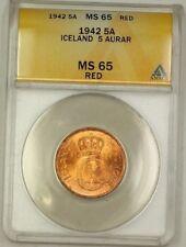 1942 Iceland 5A Five Aurar Copper Coin ANACS MS-65 Red GEM BU (G)