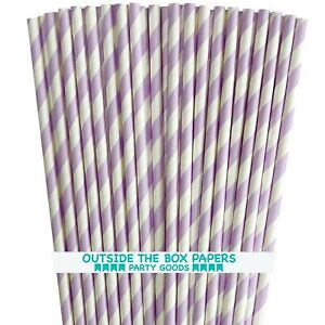 Lilac Lavender Stripe Paper Straws - 100 Pack - Outside the Box Papers