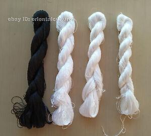 4bundles 100%real silk,hand-dyed suzhou embroidery black white silk floss/thread