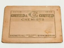 Antique Copper Printing LABEL Plate Corfield and Corfield Chemists #100