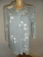 WOOLOVERS NAVY WHITE FLORAL 3/4 JERSEY BLOUSE/SHIRT TOP SZ M (UK 12-14) BNWT
