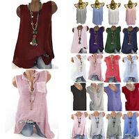 Summer Women Loose Sleeveless Vest T Shirt Blouse Boho Solid Top Shirt Plus Size