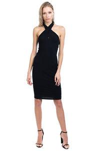 PATRIZIA PEPE Crepe Bodycon Dress Size 2 / L Crossover Halter Neck Made in Italy