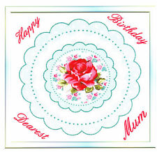 'Doily Rose' Greeting Card (Handcrafted Design with Free Options)