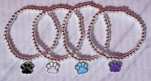 HANDMADE SILVER PLATED STACKING BEAD STRETCH BRACELET PAW PRINT CHARM (053)