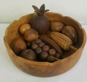 Wood Bowl with Fruit Veggies 11 Pieces Mid Century Modern Decor Pineapple Grapes
