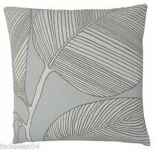 "FILLED COTTON LINEN BLEND EMBROIDERED LEAF LEAVES BLUE CUSHION 18"" - 45CM #POP"