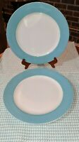 Set of 2  Dinner Plates in the Continental Dining Aqua Pattern by LENOX    *USA*