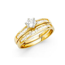 Women 14k Yellow Gold Solitaire Engagement Anniversary Bridal Wedding Ring Band