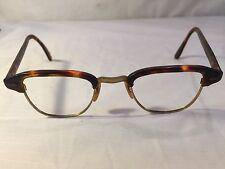 Vintage Horn Rim Eyeglasses Brown Tortoise Shell & Gold Filled Glasses Frames