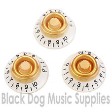 3 strat, Les Paul guitar knobs bell /Top hat in cream and white tone and volume