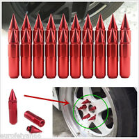 20X M12X1.5 Red Aluminum Car Wheels Rims Lug Nuts Spiked Modified Extended Tuner