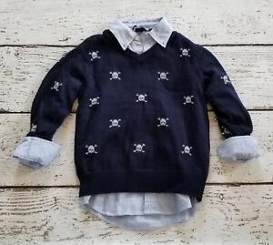 GAP KIDS Boys Blue Skull Sweater & Blue Button Up Shirt Small 6 7 EUC/NWT