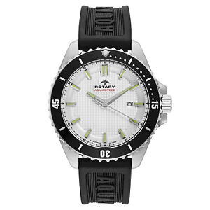 Rotary Men's Quartz Silver Dial Rubber Watch AGS00293-06