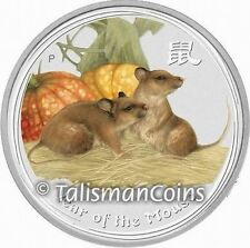 Australia 2008 Year Rat Mouse Chinese Lunar Zodiac $1 Color Pure Silver 1 Ounce
