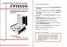Publicité électrophone portatif tourne-disques Type E 613 phono Everson