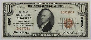 1929 $10 First NB of Aliquippa, Pennsylvania... #8590...VF EPQ