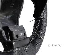 Negro Cuero Perforado Cubierta del Volante Para Mitsubishi Evo X Blanco de la puntada