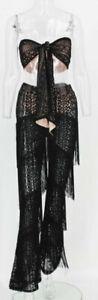 Women Tub Top High Waist Wide Leg Tassel Pants 2Pcs Set Lace See Through