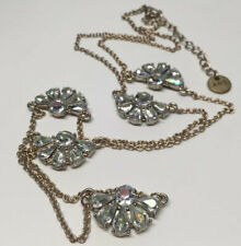 Abercrombie & Fitch Silver Tone Long Chain Bead Fan Necklace