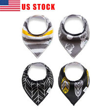 US 4Pcs Infant Kids Baby Feeding Saliva Towel Dribble Triangle Bandana Bibs Grey