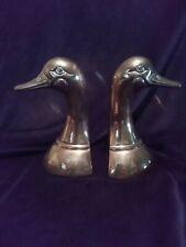 """2Pc Pair Brass Duck Head Bookends 6 1/2"""" tall Doorstop Brass Ducks Home decor"""