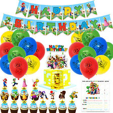 Mario Birthday Party Supplies Includes Banner, Cake, Cupcake Toppers, Balloons