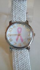 Pink Ribbon Breast Cancer Awareness Stretch Fabric Band Wrist Fashion Watch