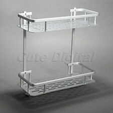 Rectangle Aluminum 2 Tiers Shower Shelf Bathroom Towel Soap Holder Storage Rack