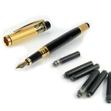 HERO 901 Fountain Pen Fine Nib Gold Black with 6 Cartriges Refills Package