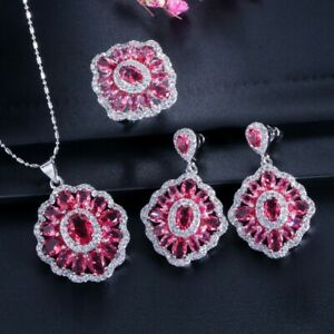Square Shine Red Kunzite Jewelry Sets White Gold Plated Necklaces Earrings Ring
