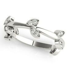 14K White Gold Size 6.5 7 8 0.20 Ct Real Diamond Anniversary Eternity Band Solid